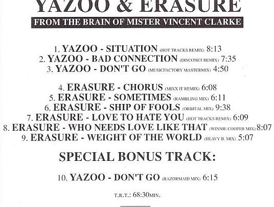 From The Mind Of Vince Clark - Erasure Vs Yazoo: BACKUP CD